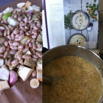 Geroosterde bonen-pastinaak soep