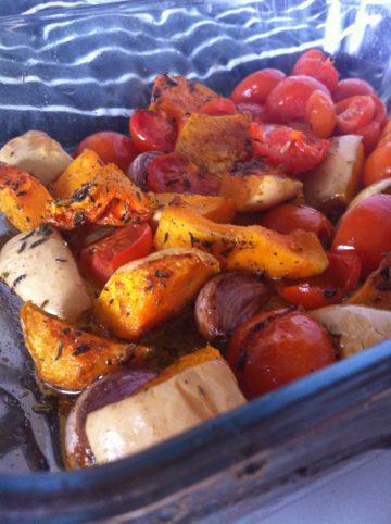Ovenschotel met pompoen en tomaat