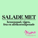 salade met hennepzaad vijgen feta en abrikozentapenade