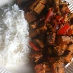 basmati rijst met stoofschotel van aubergine